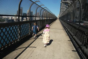 Walking Sydney Harbour Bridge kids stroller