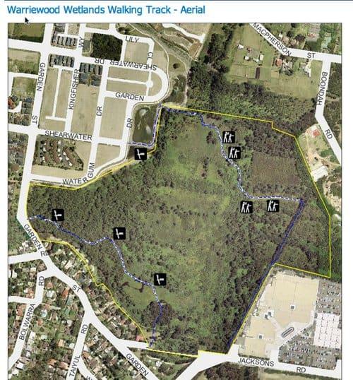 Warriewood wetland aerial map