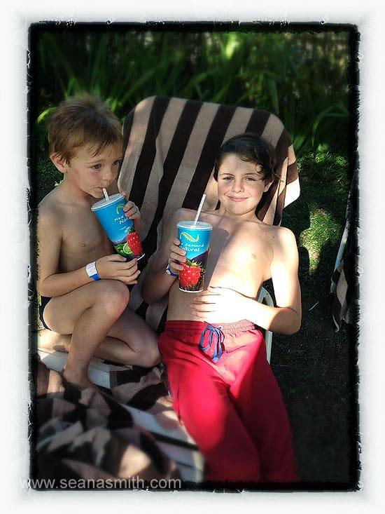 Outrigger On The Lagoon boys drink milkshakes