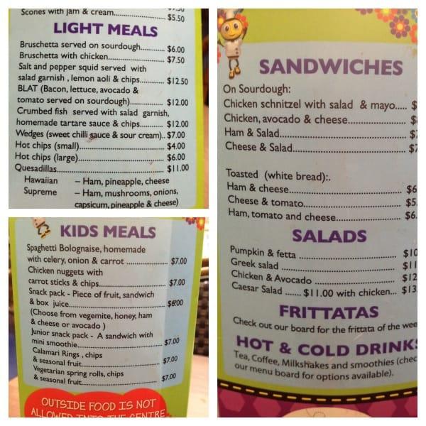 menus at Wannabees Play Town