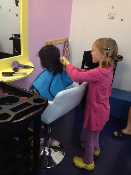 pretend hair dressing at wannabees