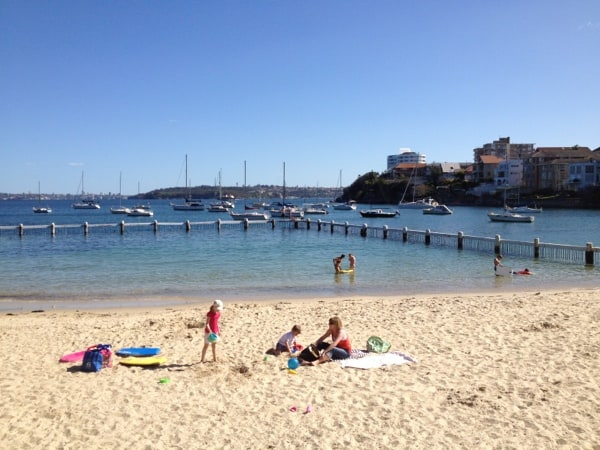 little manly beach on a sunny day shark net