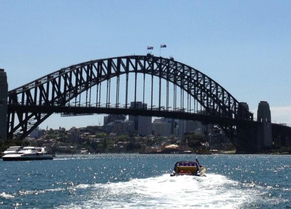 jet boat leaves circular quay