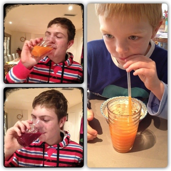 Boys drink juices