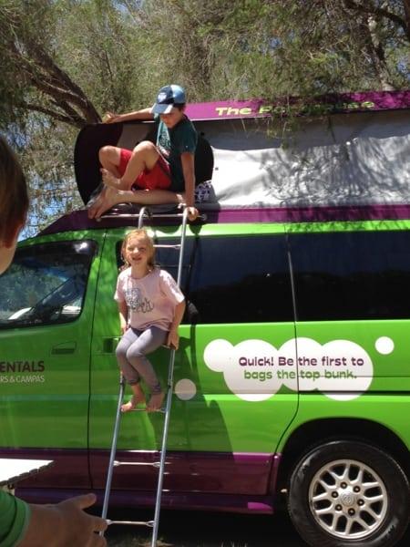 Kids on Jucy campervan