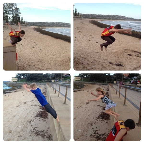 Kids jumping at Dee Why