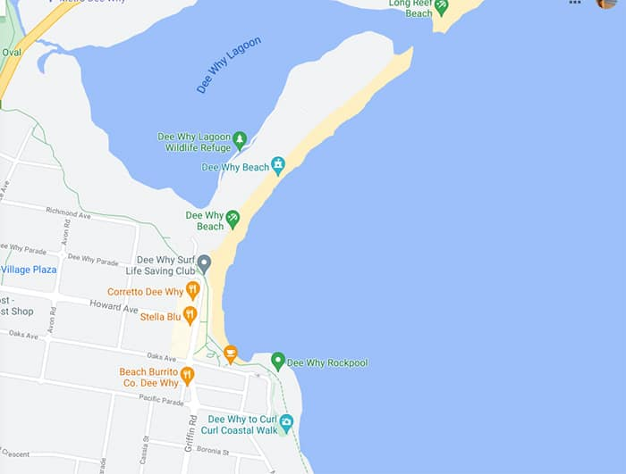 map of dee why beach and rock pool