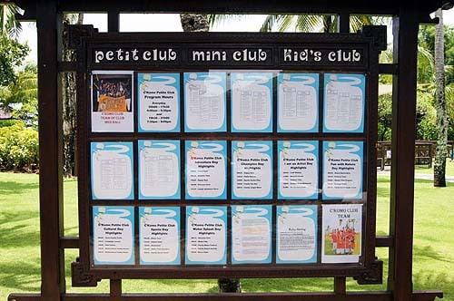 Kids Club Club Med Bali petit club noticeboard