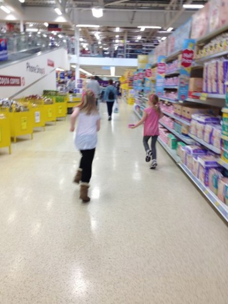 two girls running