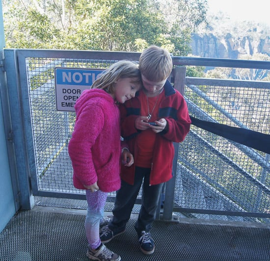 Twins wait for cableway at Scenic World Katoomba