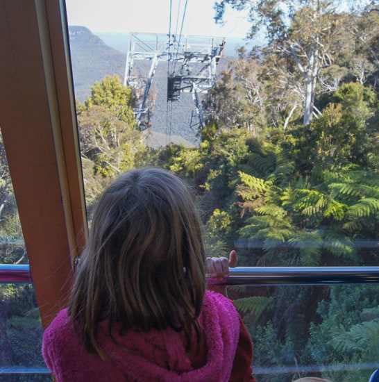 scenic world blue mountains rides child at window