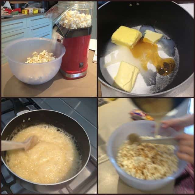 making the easy caramel popcorn recipe