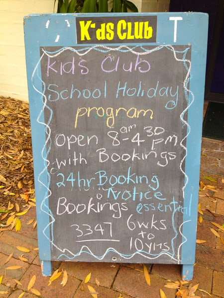 Kids Club Palmer Coolum Resort info board