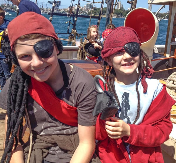 A Tall Ship Family Pirate Cruise on Sydney Harbour two pirates