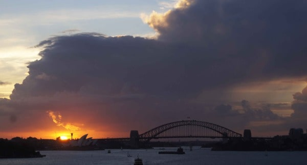 Stormy sunset behind Sydney Harbour Bridge