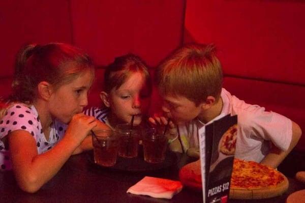 Strike bowling chatswood, kids drinking