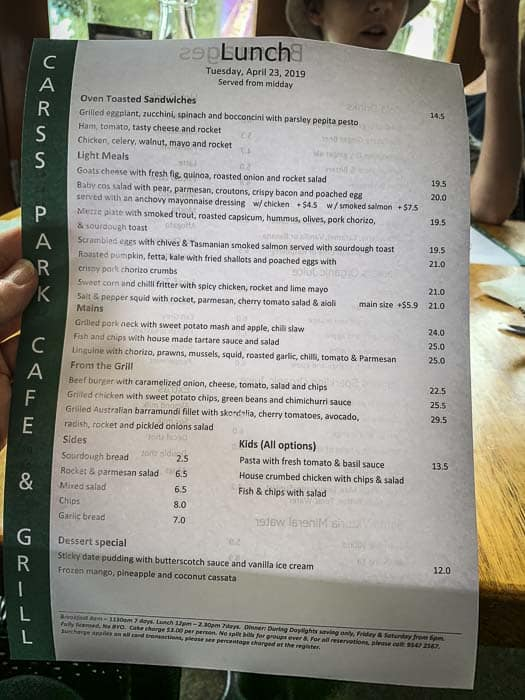 Carss Park Cafe menu