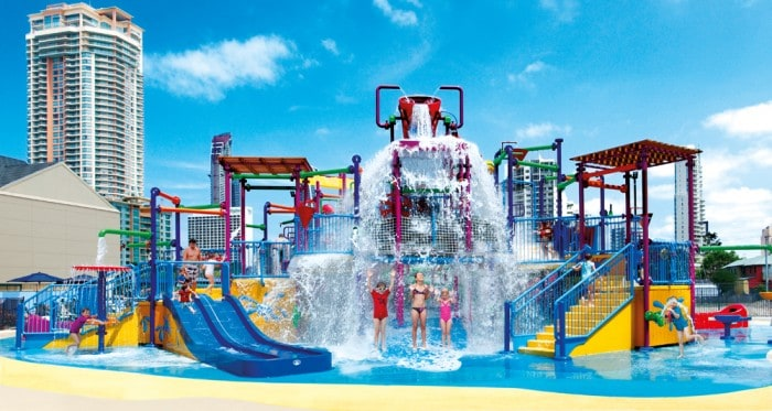 Splashing at the waterpark at Paradise Resort Surfers Paradise