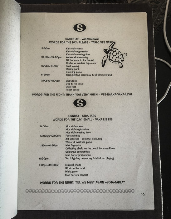 Castaway kids club timetable