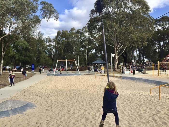 Fairfield Adventure park flying fox at teenagers playground
