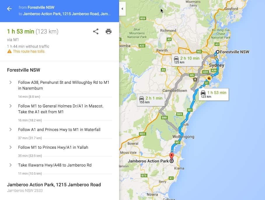 Route to Jamberoo