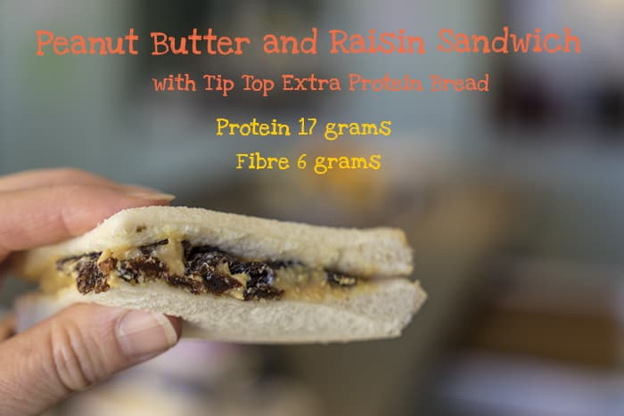 tip top raisin peanut butter sandwich