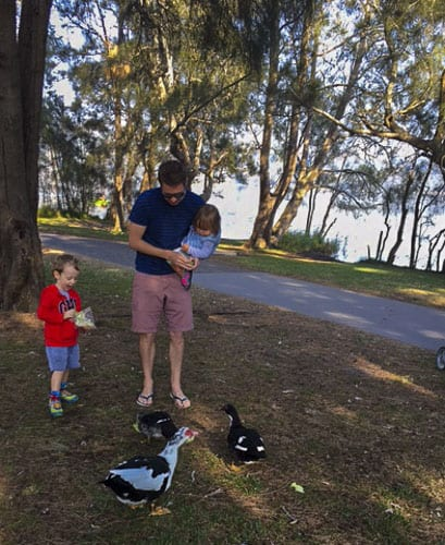 Feeding the ducks at Narrabeen Lake