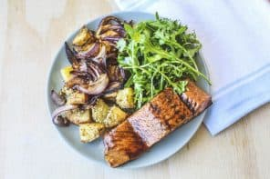 Balsamic Glazed Salmon with Crumbed Dukkah Potatoes