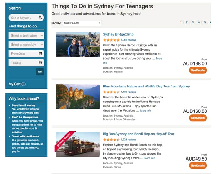 things to do sydney teenagers
