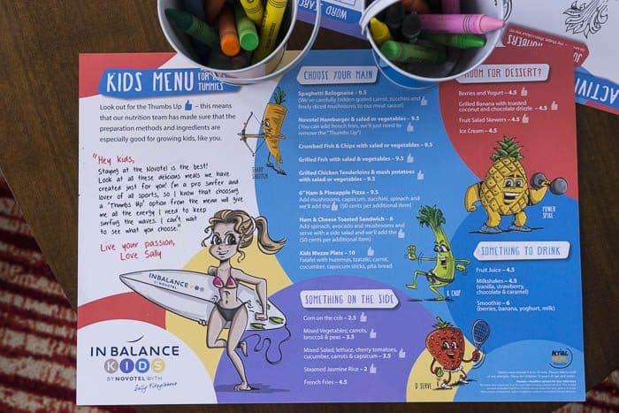 novotel darling harbour kids menu family