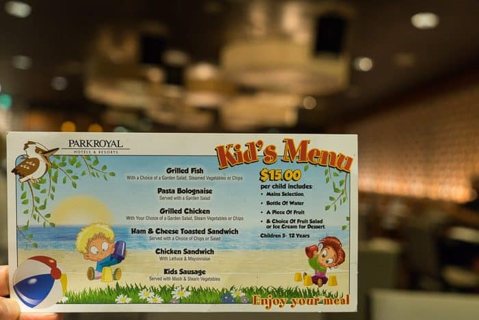 kids menu Parramatta family hotel parkroyal