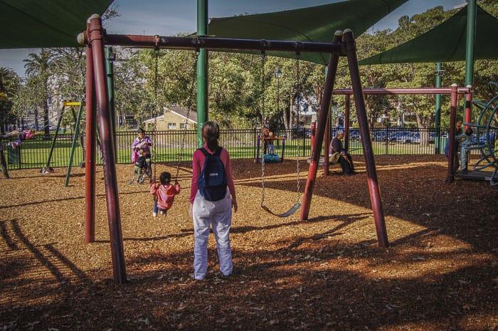 Burwood Park playground swings