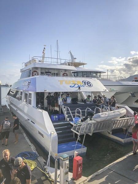 Tusa dive showing boat