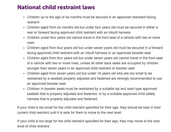 Car Child Seats + Booster Seats: Australia's Laws