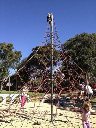white sands park spider web climbing frame