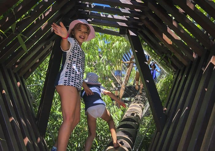 children play in Ian Potter WILD PLAY Garden bamboo forest