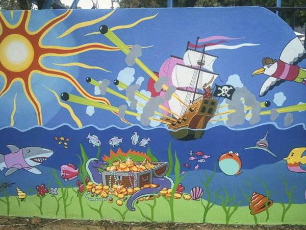 mural close up at flying fox playground mona vale