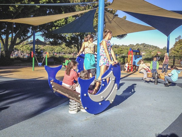 kids playing at flying fox park playground