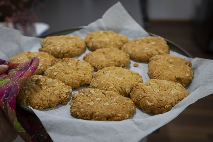 healthy anzac biscuits fresh from oven