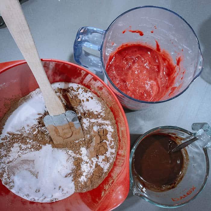 chocolate beetroot cake baking