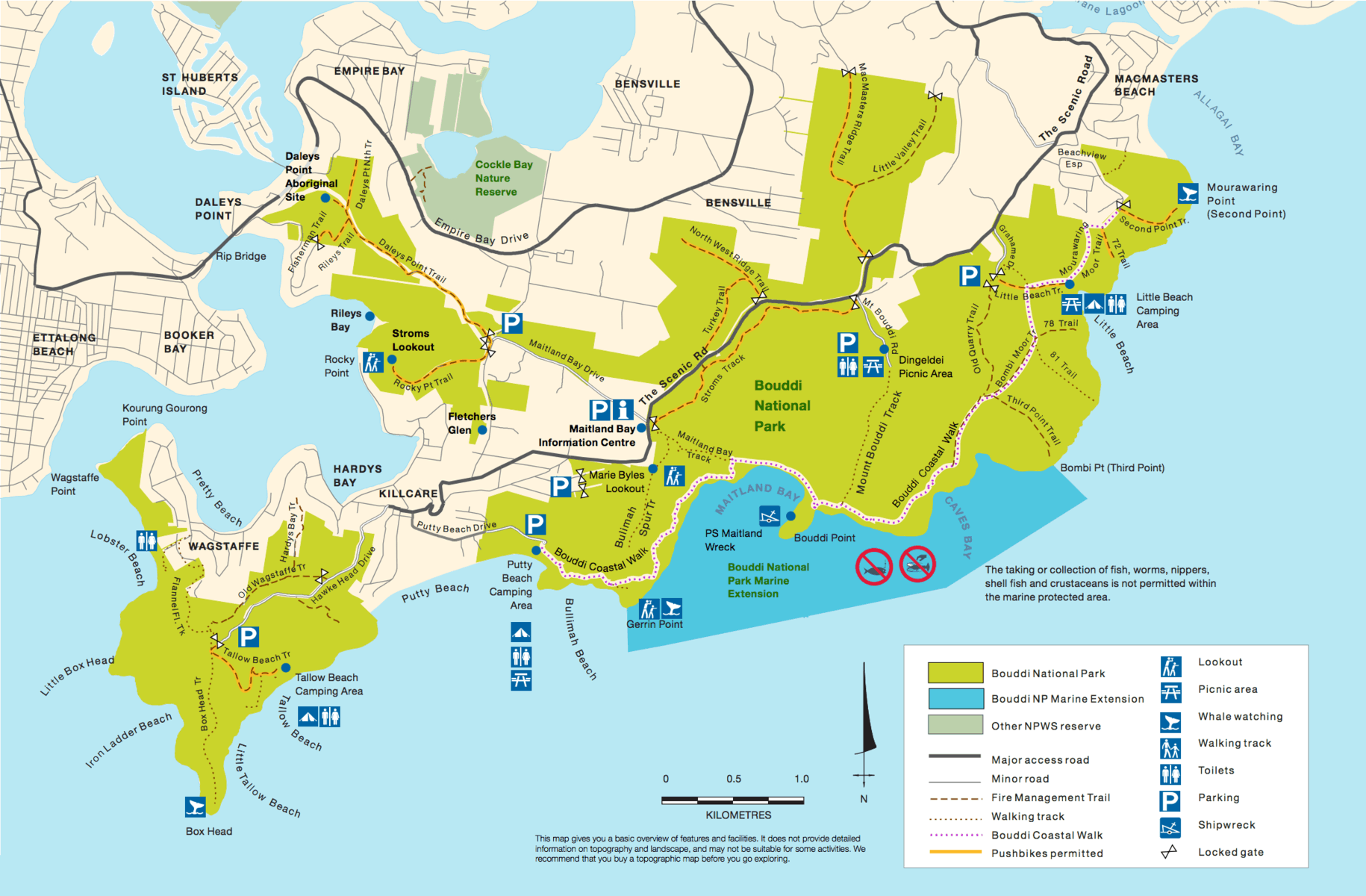 map of Bouddi National Park showing areas to visit with kids