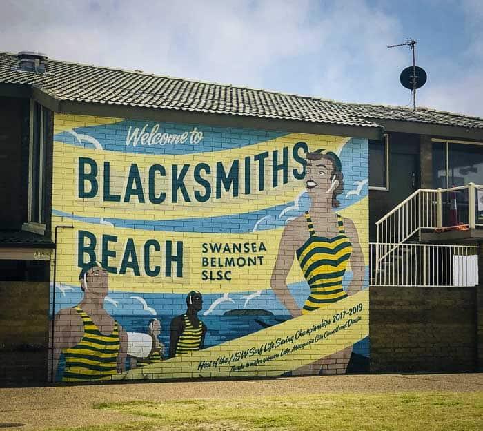 blacksmiths beach sign at the swansea belmost SLSC