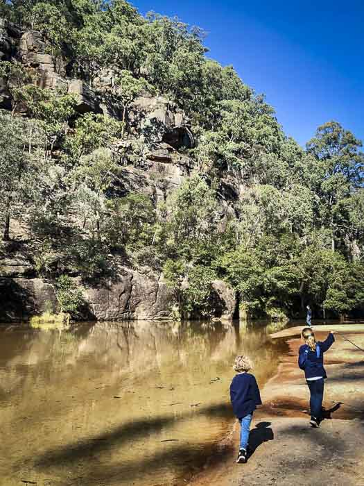 Upper Colo River reserve camping girls walking by river