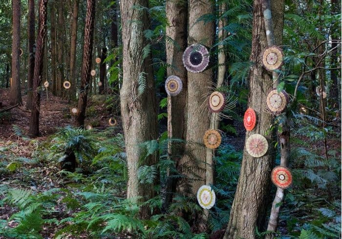 sculptures at scenic word amongst trees