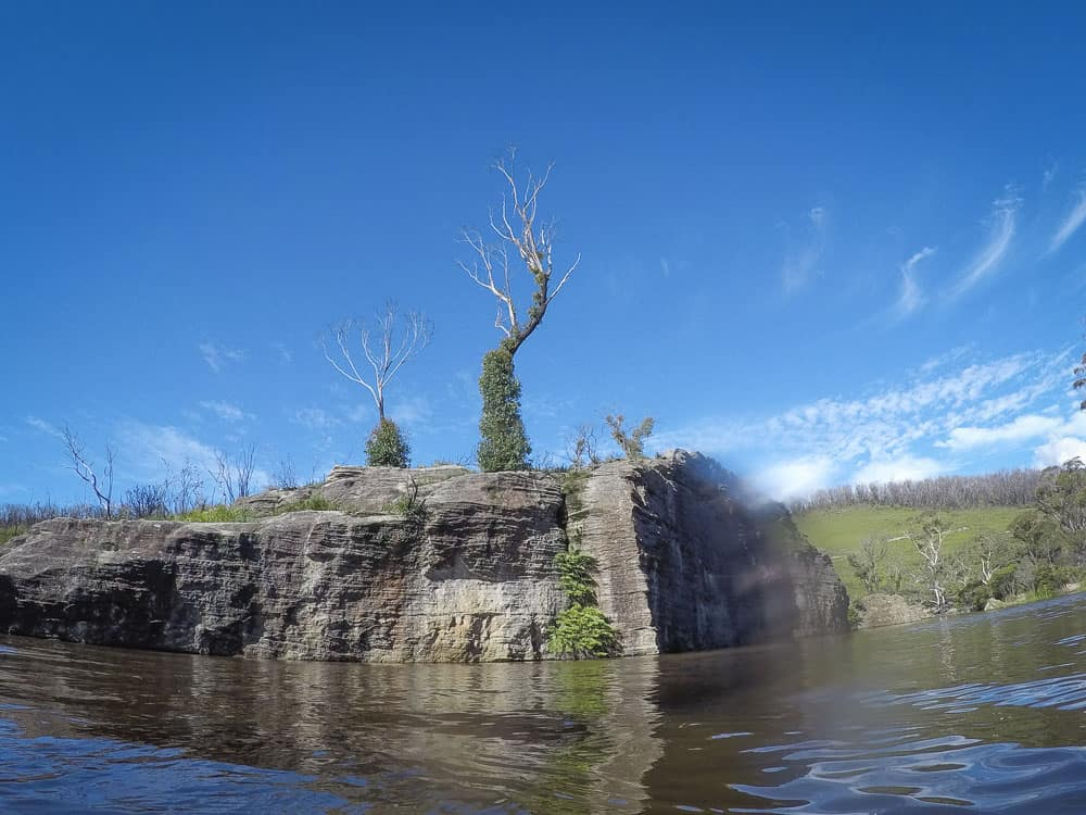 Clarence Dam islands seen from water