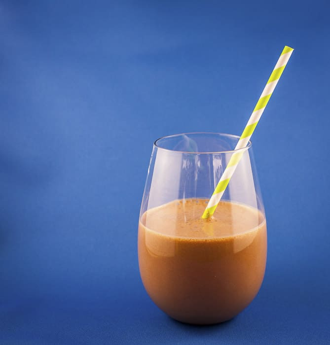 coffee and cacao smoothie in a glass